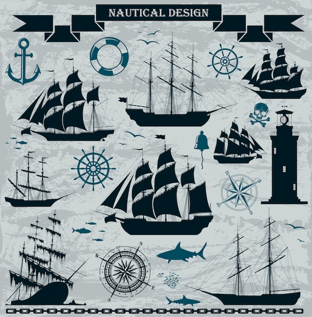 Set of sailing ships with nautical design elements. Premium Vector