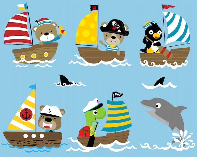 Set of sailor cartoon on sailboat with a dolphin Premium Vector