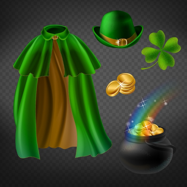 Set of saint patricks day elements, isolated on background. green cape of leprechaun Free Vector