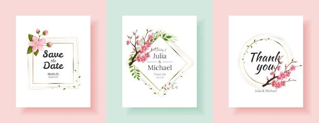 Set of sakura flowers backgrounds. floral wedding invitation cards template design. holiday invitation, greeting cards and fashion design Premium Vector