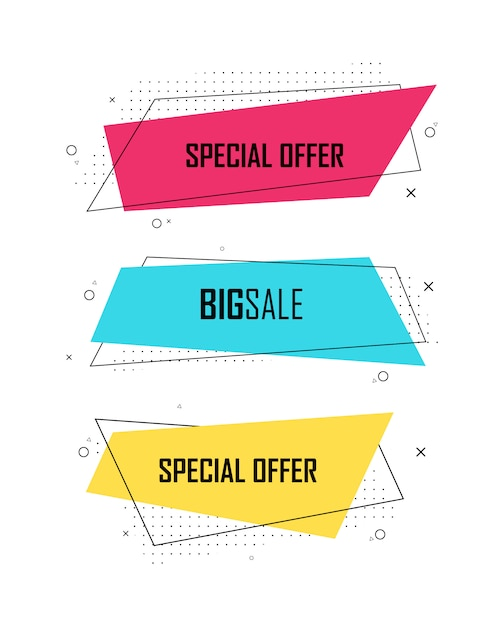 Set of sale banner template design, super sale and special offer. abstract background color art illustration. contrast colors. gradient elements for logo, banner, post. illustration Premium Vector