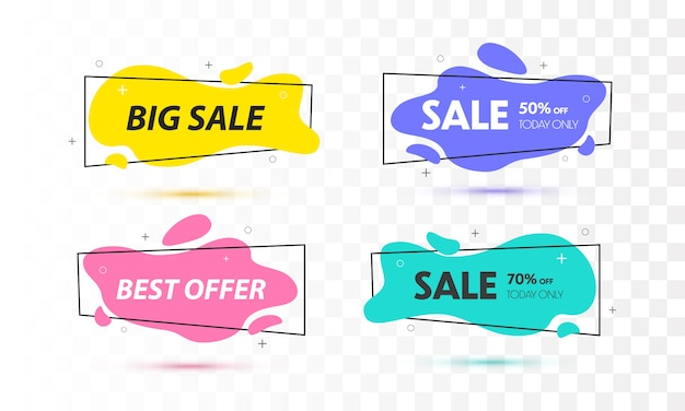 Set of sale banners with trendy shapes. Premium Vector