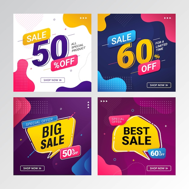 Set of sale discount offer price banner Premium Vector