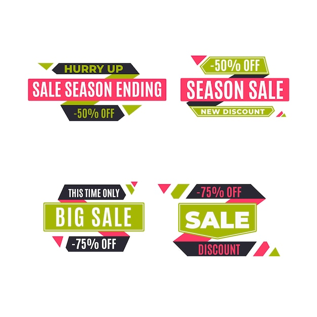 Set of sale and discount promo Free Vector