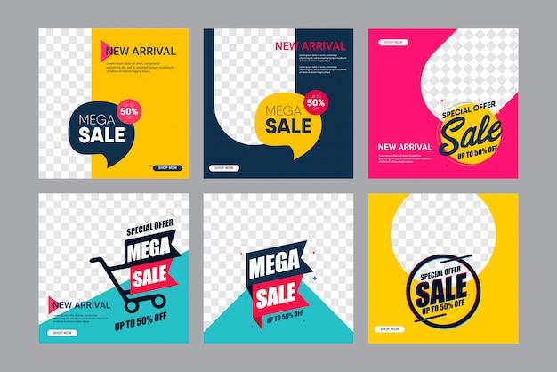 Set sale modern banner design template. up to 50% off. Premium Vector