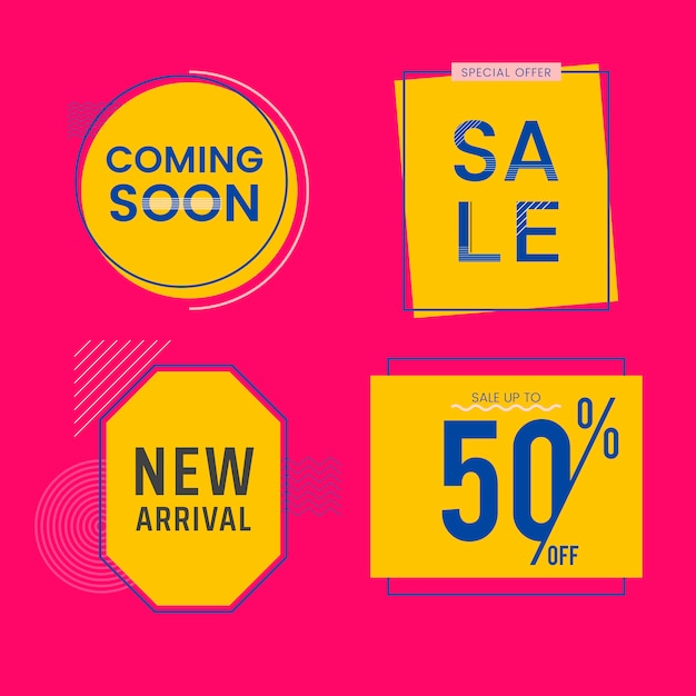 Set of sale and promotion badges vector Free Vector