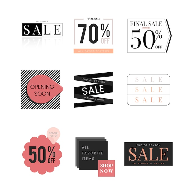 Set of sale promotion design template Free Vector