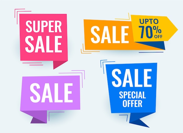 Set of sale promotional banner and tags Free Vector