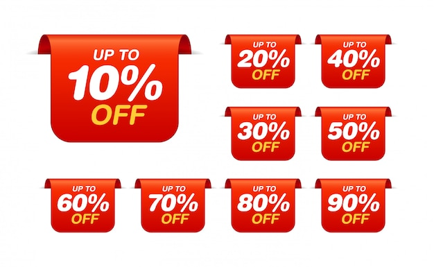 Set of sale tags. bookmark discount stickers pack Premium Vector