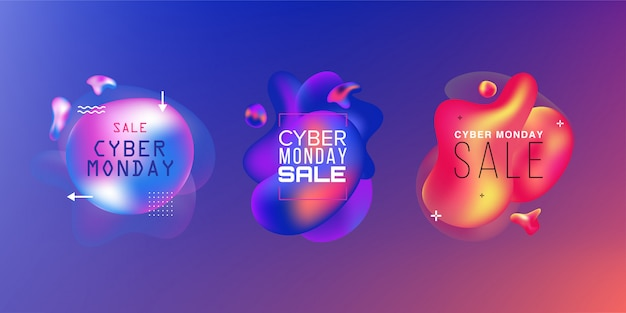 Set of sales. black friday, cyber monday and autumn sale. liquid  colorful shapes. abstract modern graphic elements on the dark .  . Premium Vector