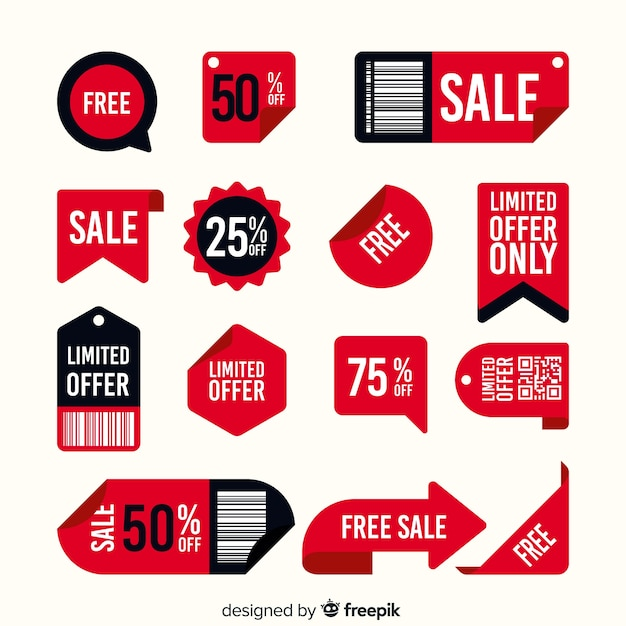 Set of sales label with different offers Free Vector