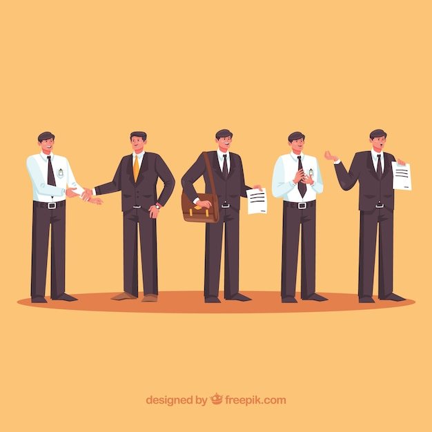 Set of salesman characters with flat design Free Vector