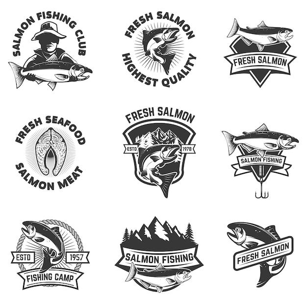Set of salmon fishing emblems. seafood.  elements for , label, sign, brand mark.  illustration Premium Vector