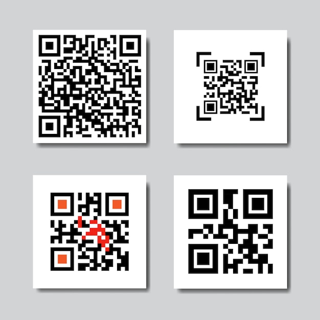 Set of sample qr codes for smartphone scanning icons Vector
