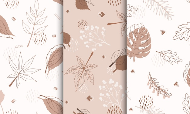 Set of samples pattern with abstract autumn elements, shapes, plants and leaves in one line style. Premium Vector
