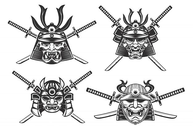 Set of the samurai helmets with swords  on white background.  elements for , label, emblem, poster, t-shirt.  illustration. Premium Vector