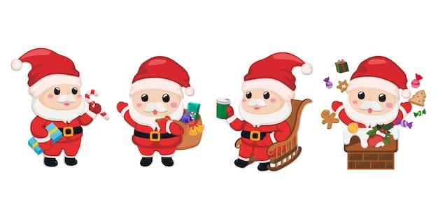 Set of santa claus characters Premium Vector