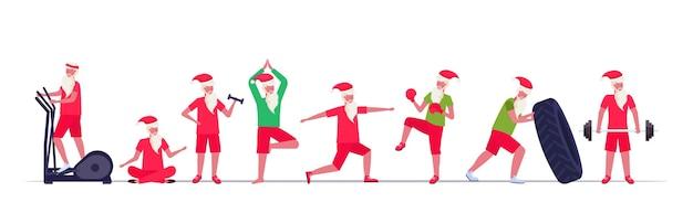다른 운동을하는 산타 클로스 훈련 운동 건강한 라이프 스타일 개념 크리스마스 새해 휴일을 설정 프리미엄 벡터