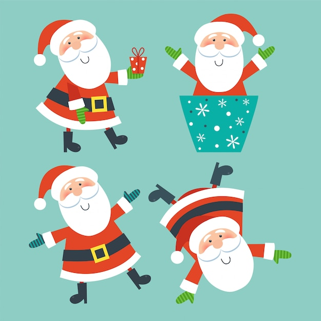 Set of santa clauses. Premium Vector