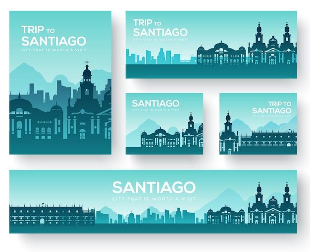 Set of santiago landscape country ornament travel tour Premium Vector