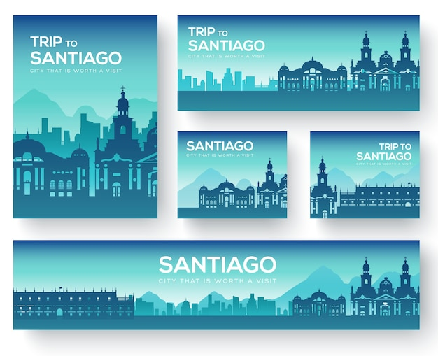 Set of santiago landscape country ornament travel tour. Premium Vector