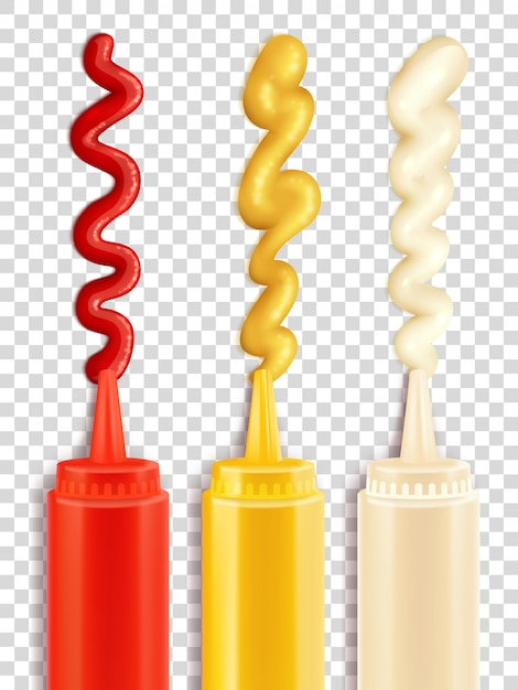 Set of sauce bottle Free Vector