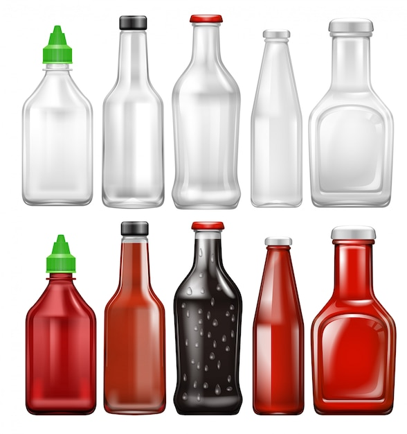 Set of sauce bottle Premium Vector