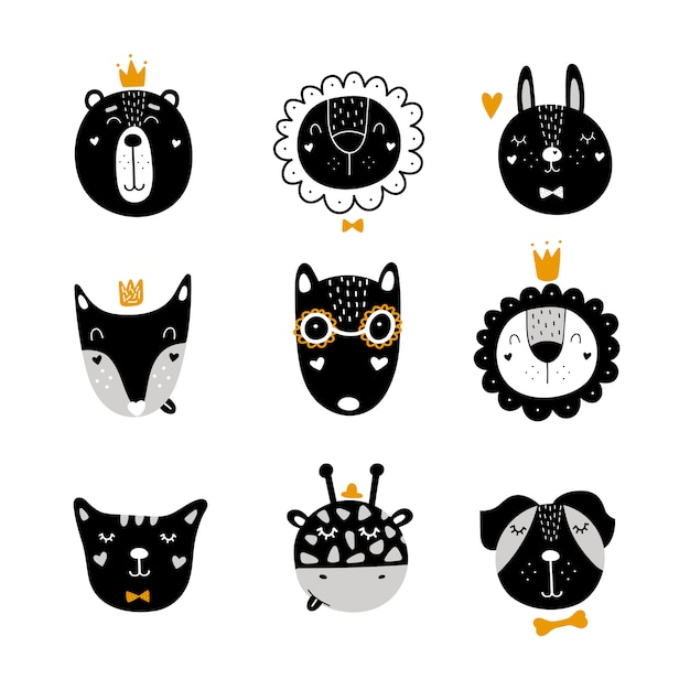 Set of scandinavian cute animals Premium Vector