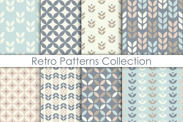 Set of scandinavian style floral seamless pattern. Premium Vector