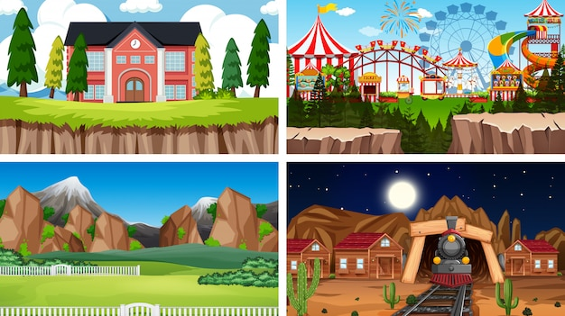Set of scenes background in nature setting Free Vector