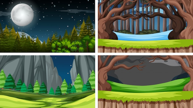Set of scenes or background in nature setting Free Vector