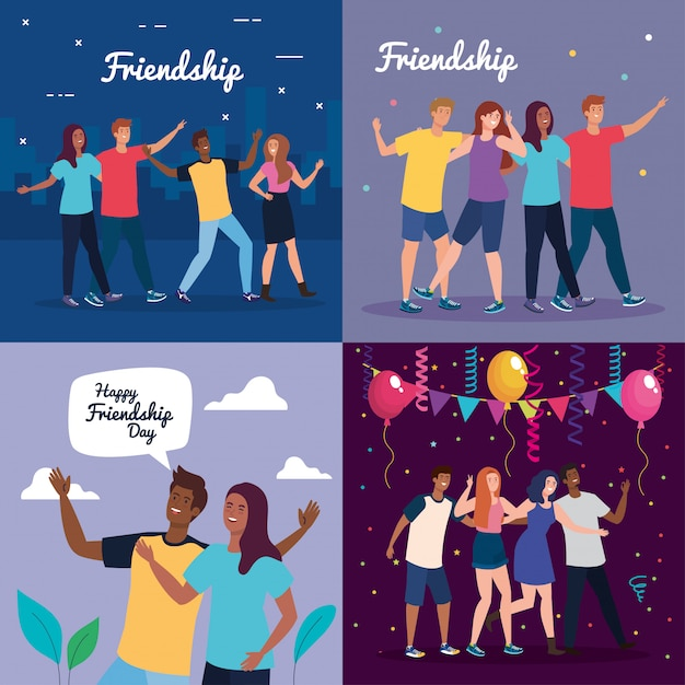 Set scenes of happy characters, young people, friendship excitement, cheerful laughing from happiness Premium Vector