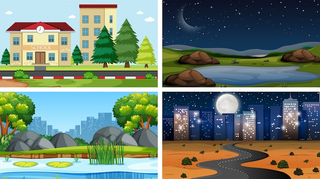 Set of scenes in nature setting or background Free Vector