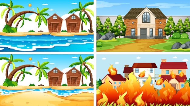 Set of scenes in nature setting Free Vector