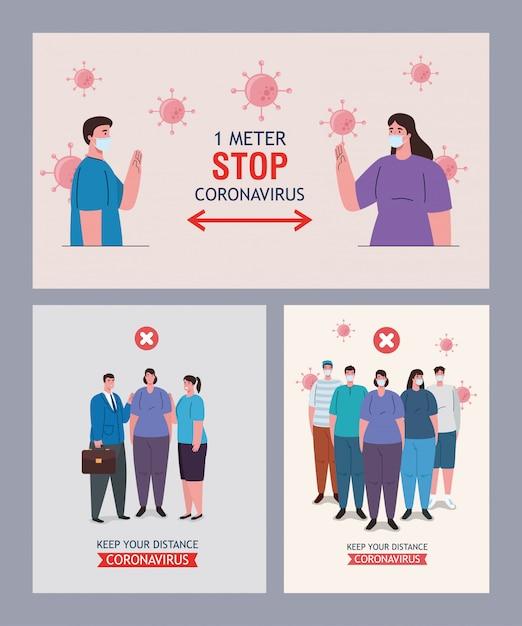 Установить сцены отдаленного социального, держать дистанцию в общественных местах, профилактика коронавируса covid-19 Premium векторы