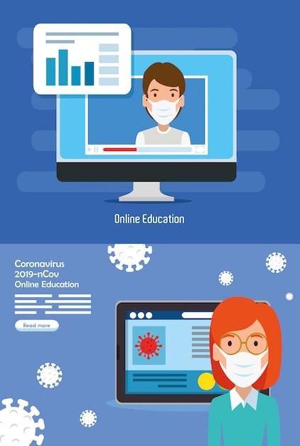 2019-ncov의 온라인 교육 장면 설정 프리미엄 벡터