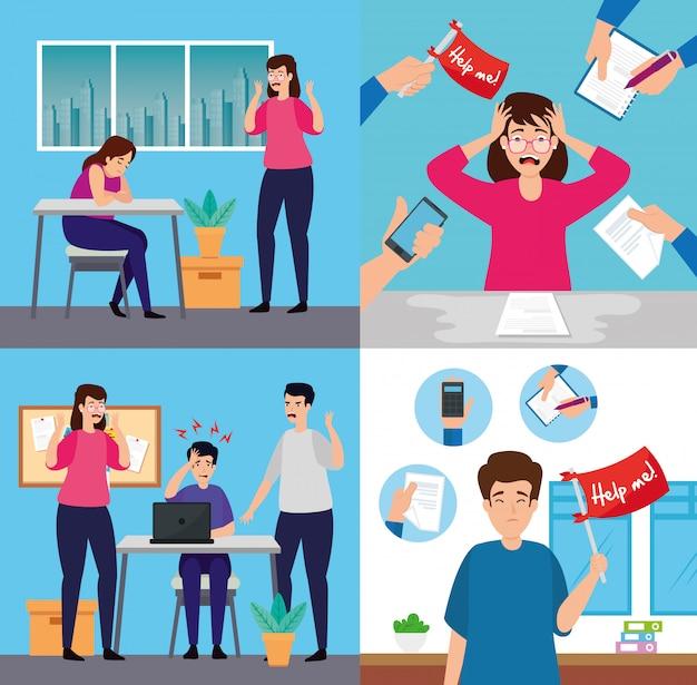 Сценография людей со стрессовой атакой, перегруженных работой в офисе Premium векторы