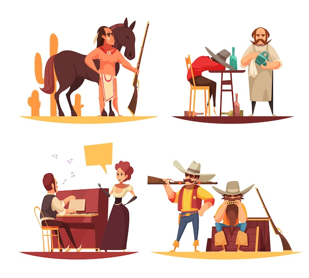 Set of scenes in wild west with indians and cowboys Free Vector