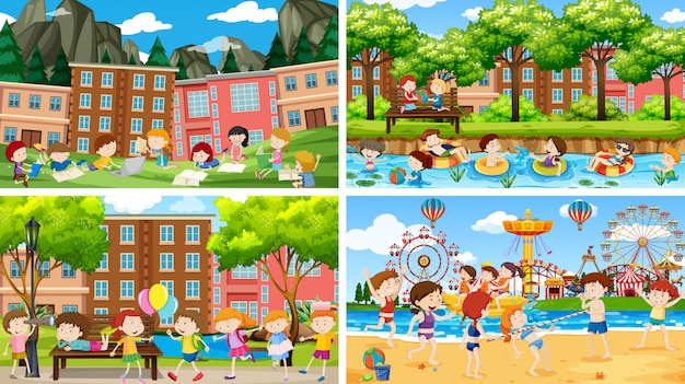 Set of scenes with childrens paying Free Vector