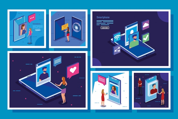 Set of scenes with smartphone and social media icons Free Vector