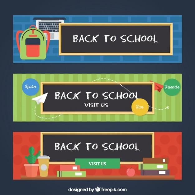 مدرسه تنظیم آگهی ها با عناصر طراحی تخت