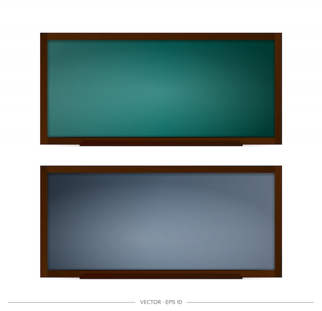 Set of school blackboard  . chalkboard with black and green backgrounds. element for design on a school or business theme. Premium Vector
