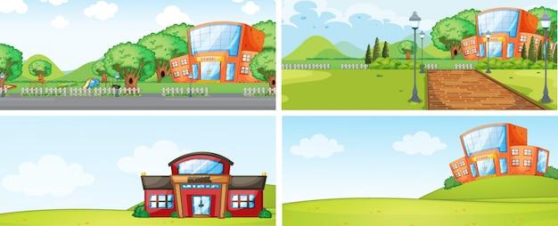 Set of school building backgrounf Premium Vector