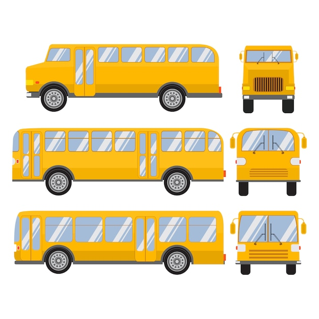 Set school bus flat design. Premium Vector