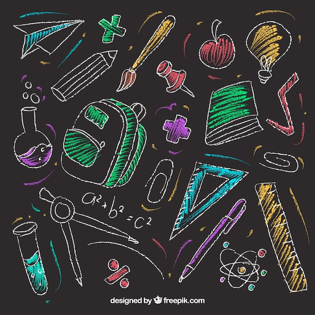 Set of school elements in chalkboard style Free Vector