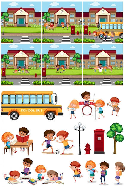 Set of school and student Premium Vector