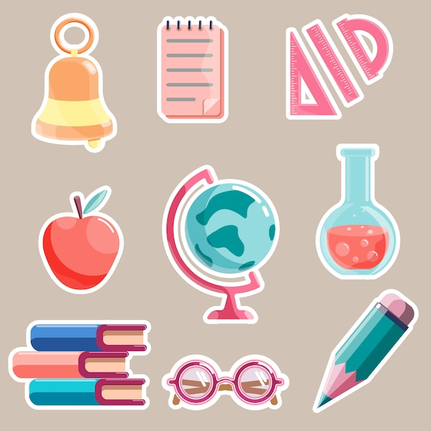 Set of school theme cartoon stickers isolated on white background Premium Vector