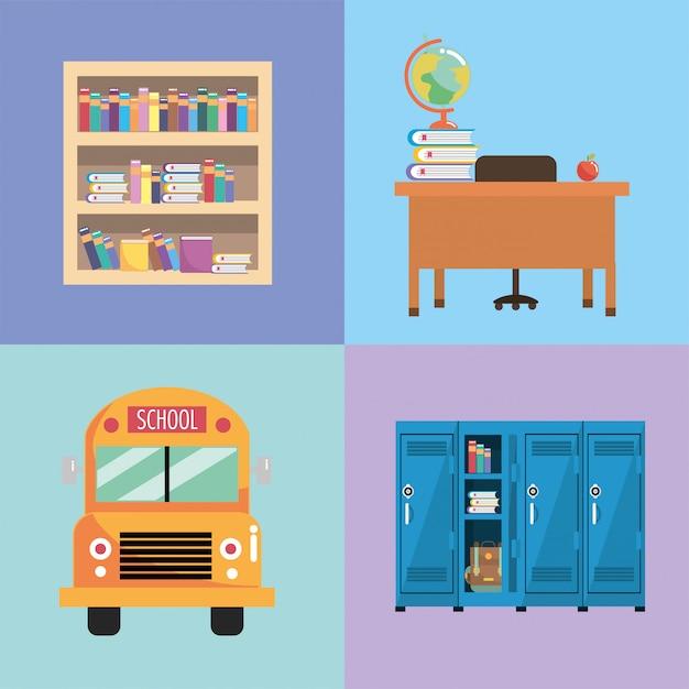 Set school utensils to education and study Premium Vector