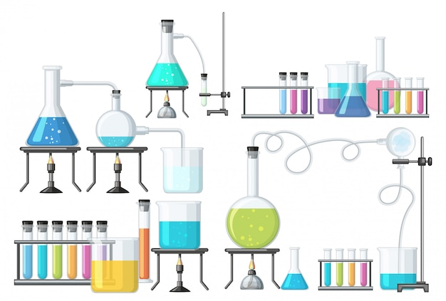 Set of science equipment Premium Vector