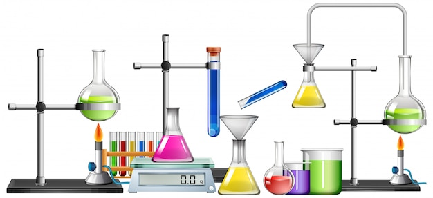 Set of science equipments Free Vector